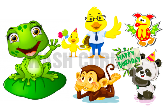 Design Cute Animal Cartoon Vector Character Illustration