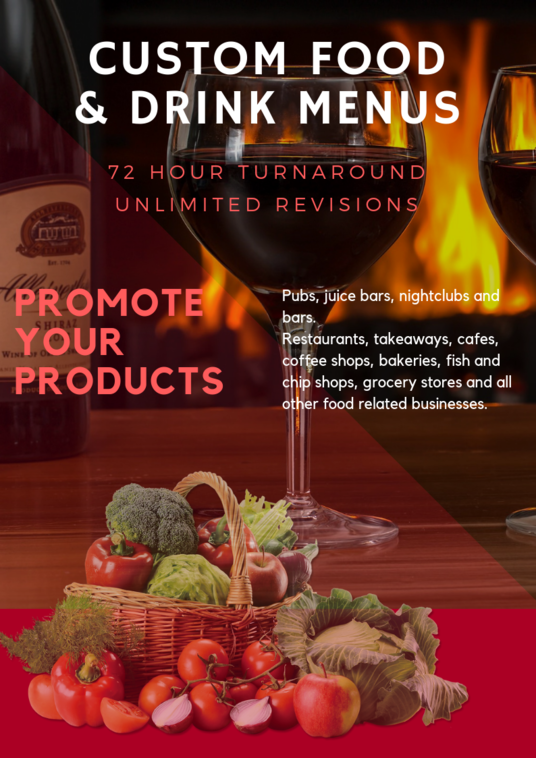 I will create a Professional A3 Food and Drink Industry Menu Price List Design Single Sided