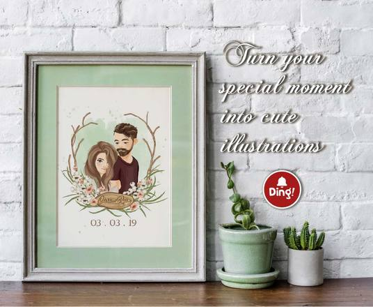 I will Draw Cute Couple And Wedding Portrait Illustration