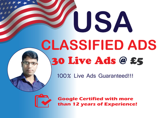 I will Do 30 High Authority USA Classified Ads Posting for your Website