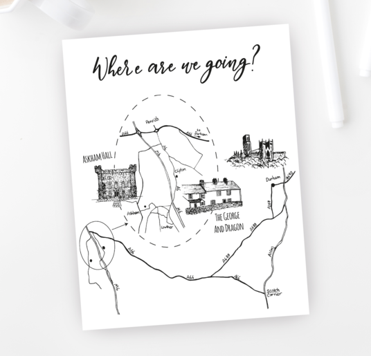 I will create a hand drawn map with individual location illustrations