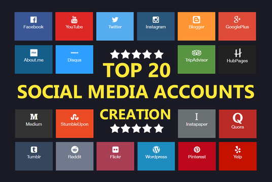 I will create top 20 social media accounts