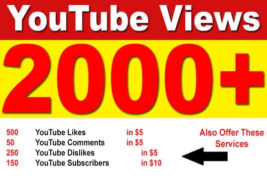 add 2000 High Retention Permanent YouTube Views