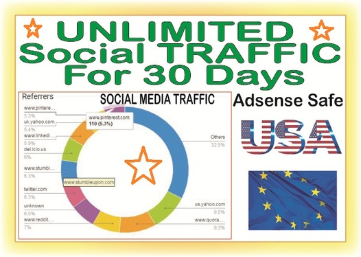 Add 30 Days UNLIMITED targeted WEB TRAFFIC from Social Media