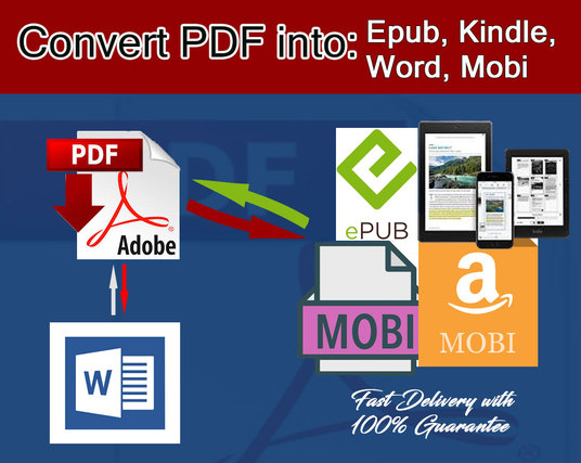 I will convert your PDF to ebook formats like EPUB, MOBI or Word document