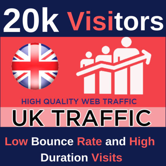 I will drive 20,000 UK traffic, with low bounce rate and high duration visits, to your website