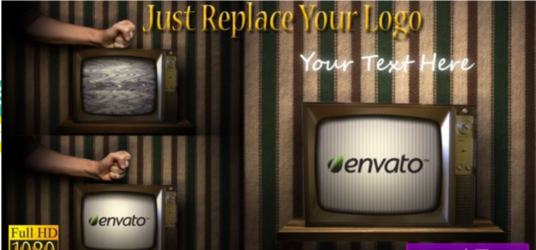 create A Vintage Broken Tv And Logo 3d Animated Video