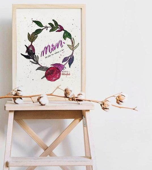 I will hand letter your mother's day message on a watercolor wreath in 1 day