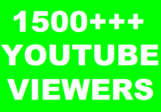 I will get 1500 real you tube views + 5 likes, comments
