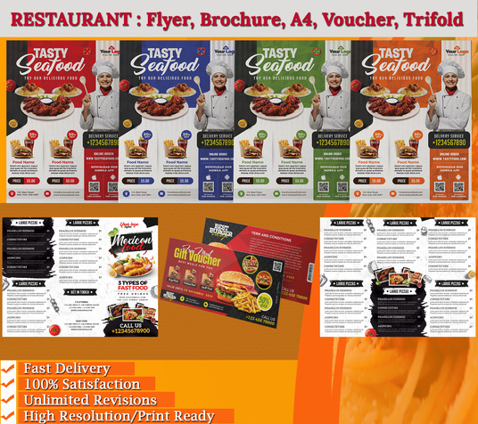 I will Design Awesome Food Flyer, Poster Or Restaurant Menu
