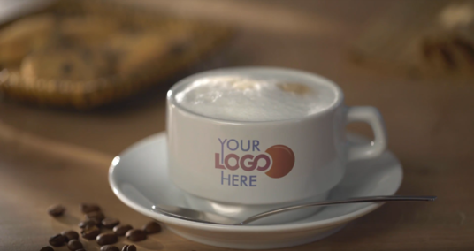 make video Coffee Mug with our Logo Brand commercial ads