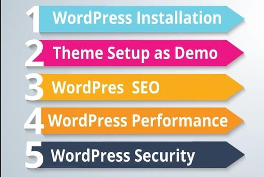 I will install and setup WordPress, plugins,  logo, and menu, Customize themes