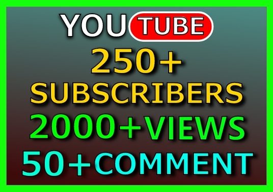 I will provide 250+ sustainable YouTube Subscribers, 2000+ views & 50+ comment