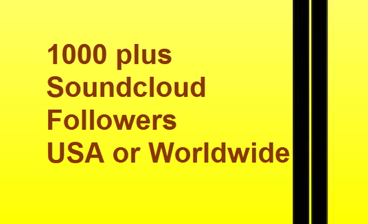 I will give 1000 plus Soundcloud Followers From USA or Worldwide