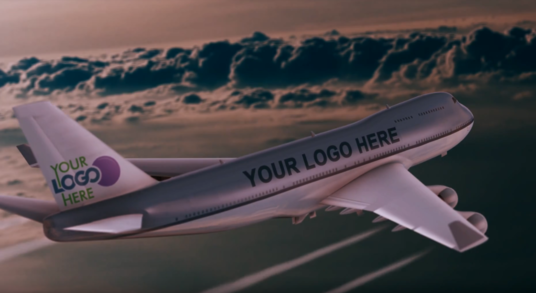 add your Logo and Text in this Airplane realistic video commercial animation