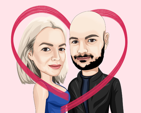 draw a cool couple big head caricature