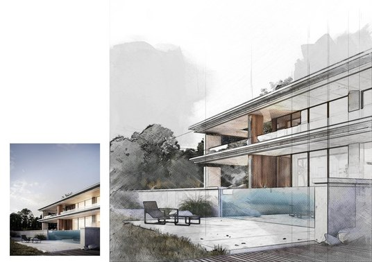 I will make digital watercolor sketch drawing for your architecture