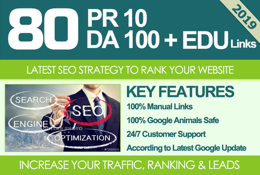 I will Manually Do 80 Unique Pr10 Seo Backlinks On Da100 Sites Plus Edu Links