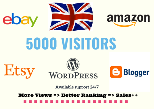 I will Generate 5000 Visitors From UK  To Your Website Link Or Your Product Link