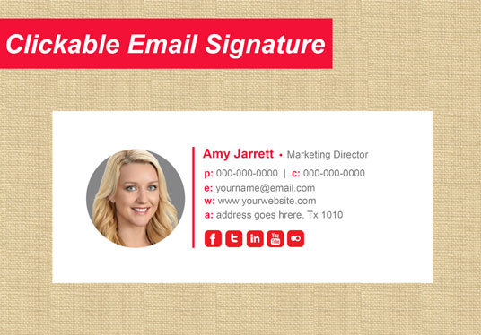 I will design Clickable HTML email signature