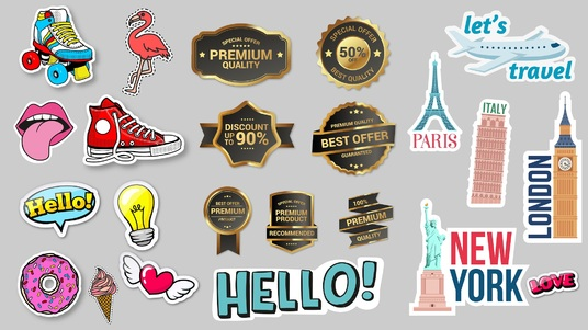 design high custom high quality stickers, label, badges, vintage, and retro