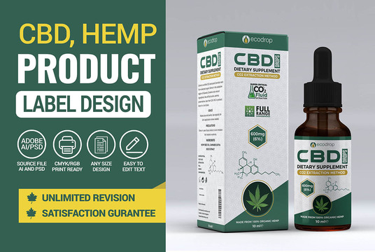 I will Design Cbd, Hemp Product Label And Packaging Box