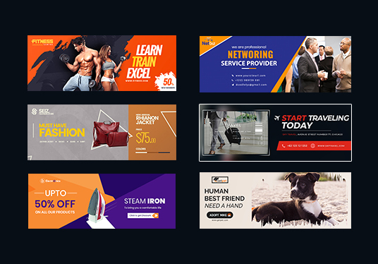 I will Do Any 2 Web Banner, Facebook Cover Banner, Youtube Banner, Or Fb Ads Designs