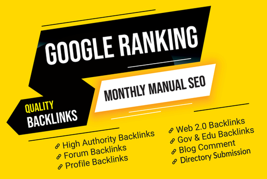 I will Boost Google Ranking With Manual Seo Backlinks, Monthly SEO service