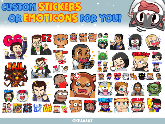 I will create custom stickers or emoticons for you