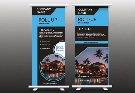 I will design a professional roll up banner
