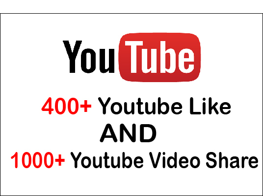 I will give 400 Youtube Video Likes And 1000 Youtube Video Shares
