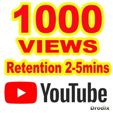 Give You High Quality 1.000 YouTube views-Retention 2-5mins