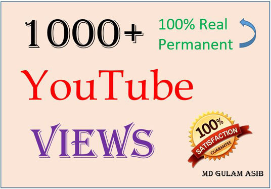 I will give you 1000+ real safe permanent high-quality YouTube views