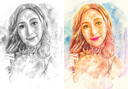I will Create Hand Drawn Style Watercolor Portrait
