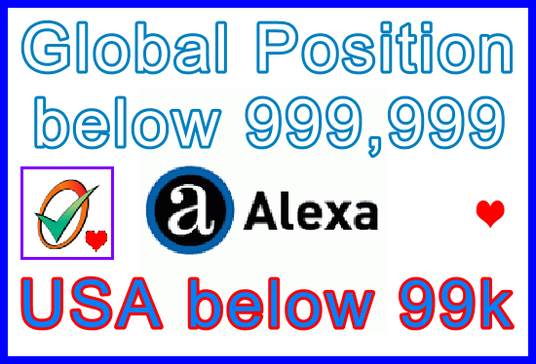 I will Lower Alexa Global Website Position below 999,999 | USA Alexa Position below 99k