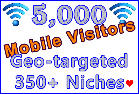 Send 5,000 Geo-targeted and Niche-targeted Genuine Human Mobile Visitors