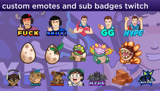 I will create express custom twitch emotes,sub badges