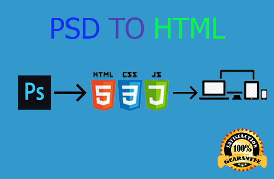 I will Convert PSD to Html full Responsive Bootstrap 4