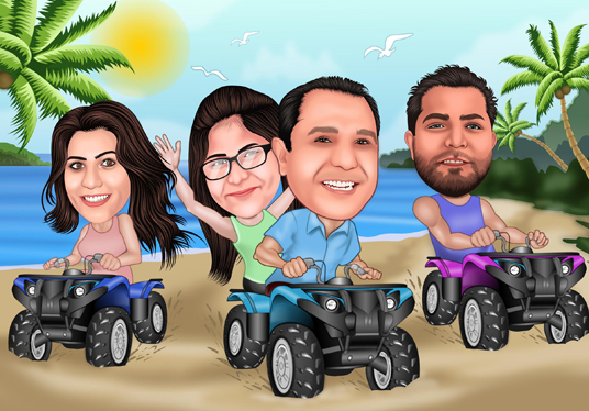 I will Create 3 figure  Family  Cartoon Caricature from photo