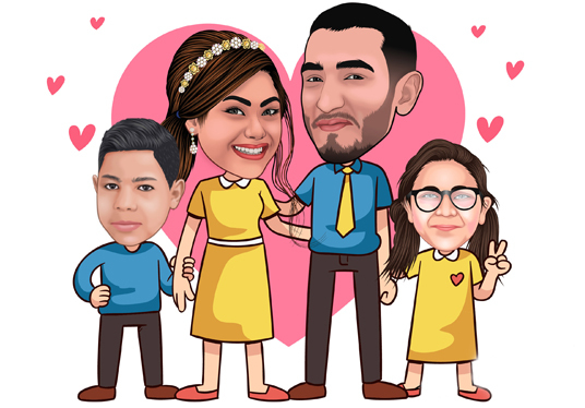 Create 3 figure  Family  Cartoon Caricature from photo