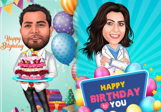 I will draw Cartoon Caricature For Your birthday
