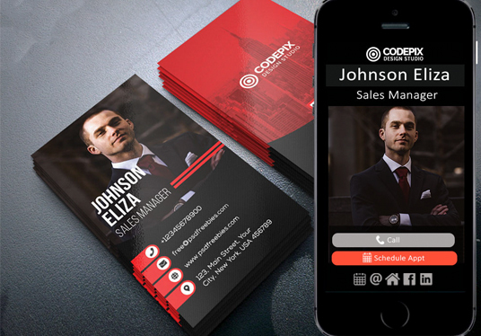 I will design a business card and a free digital version for mobile