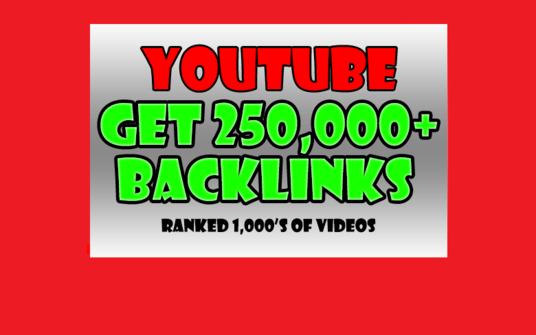 I will Create 250,000 Backlinks and Embeds to your YouTube Video for SEO