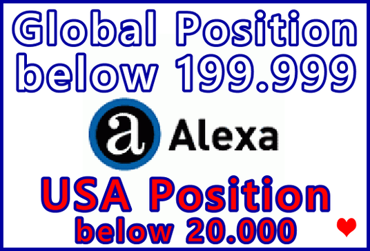 I will Lower Your Alexa Global  Website Position below 199,999 | USA  Alexa Position below 20k