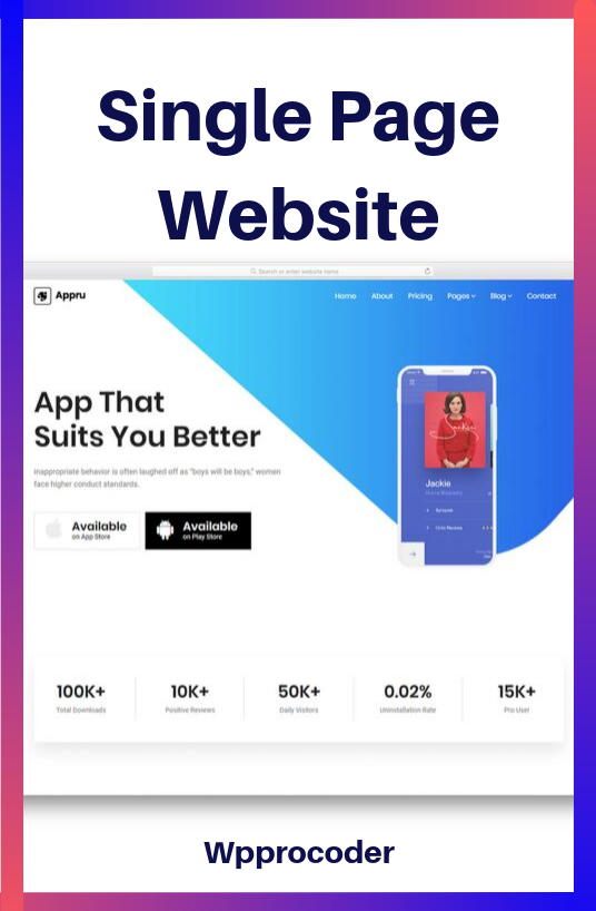 I will Create a Single Page Website