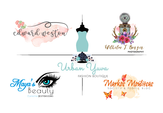 I will Design Feminine Hand Drawn Watercolor Logo