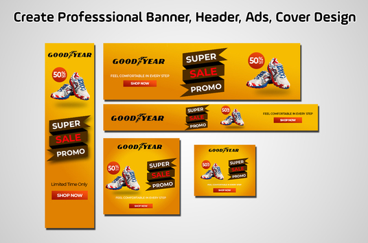 I will create professional web banner, header, ads, cover