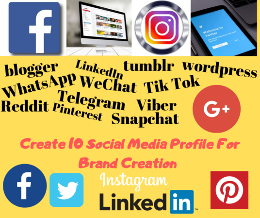 I will Create 10 Profile Accounts For Your Brand Creation