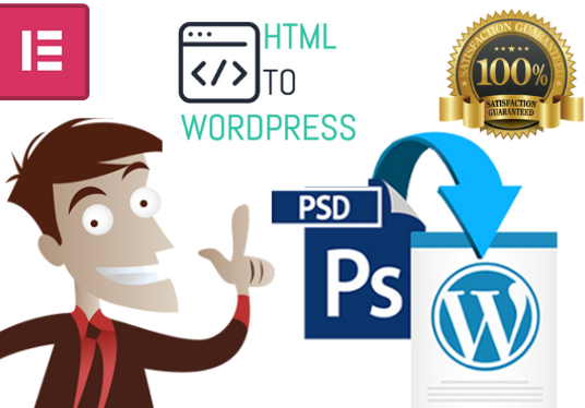 I will convert PSD or HTML to WordPress Web page