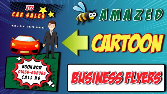 cccccc-design a Single Side A5 Cartoon Comic Pop Out Effect Business Flyer